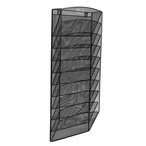 Office Supply 10 Pocket desktop Metal Wire Mesh Hanging Wall Mounted File Organizer for letter magazine