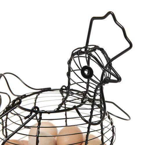 Kitchen Design Hanging Storage Baskets Decorative Black Metal Egg Dispenser Rack Storage Display Rack Wire Egg Basket