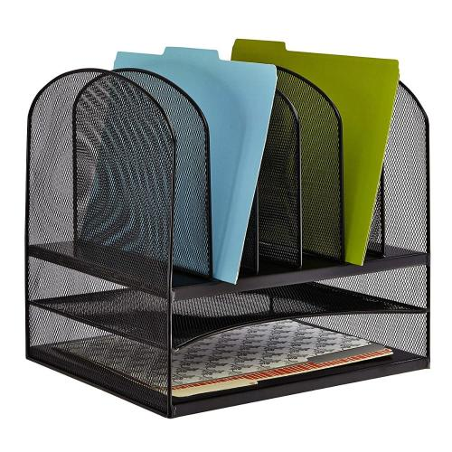 Office Supply Black Table Metal Wire Mesh 2 Tray/6 Sorter Desktop File Organizer for Office