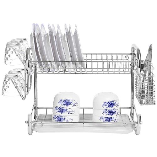 Multipurpose Modern Design 2 Tier Kitchen Storage Dish Drying Rack with Cutlery Holder