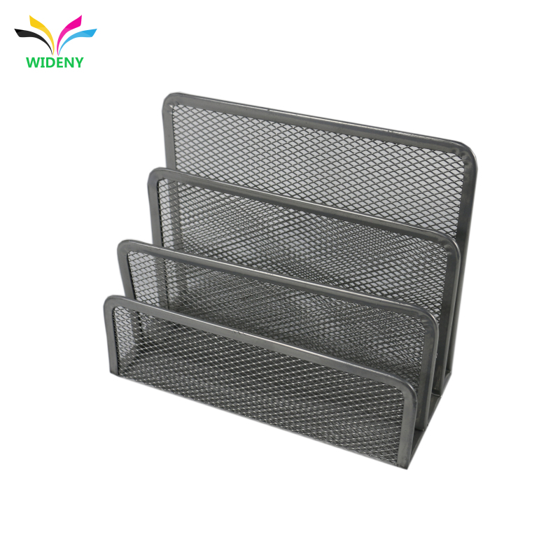 Wideny Black Metal Wire Mesh Letter Tray Organizer Desk Letter Paper sorter for office