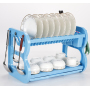 Wideny modern home kitchen 2 tier Sky blue Eco friendly B Type pull down drain plastic bowl rack with cover