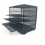 Home Storage Black Metal Desktop Mesh File Organizers for Office Storage Document Papers Bills Folders Letters