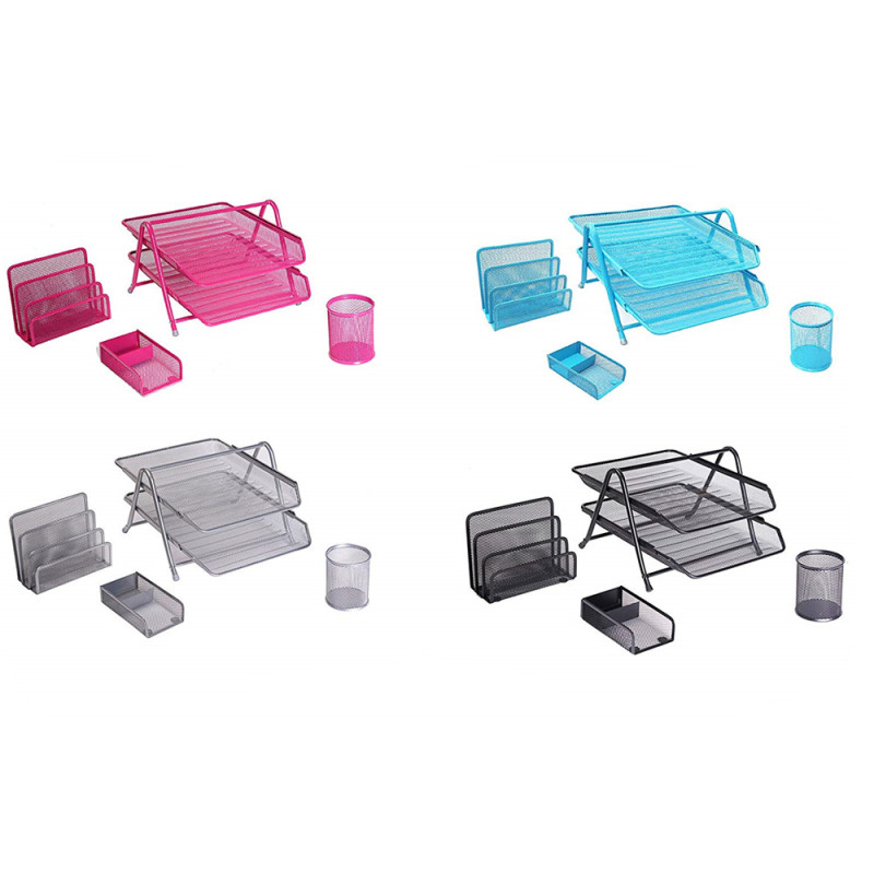Custom wholesale High Sale school supplier black metal mesh desktop organizer kids school stationery set