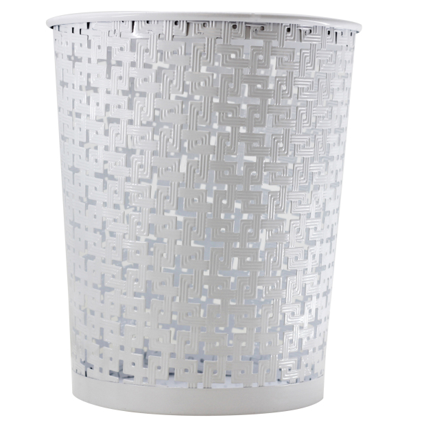 Wholesale big size office home  paper trash garbage round  metal waste bin with pattern design