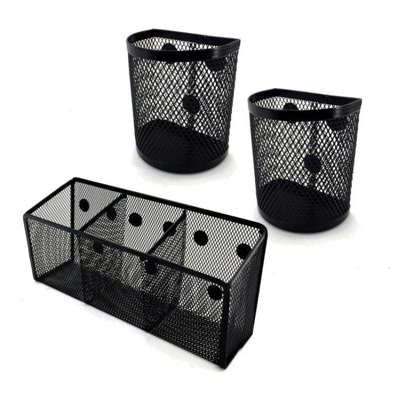 Office hot sales Metal Fridge Magnet Storage Basket Whiteboard Mesh Pen Pencil Holder