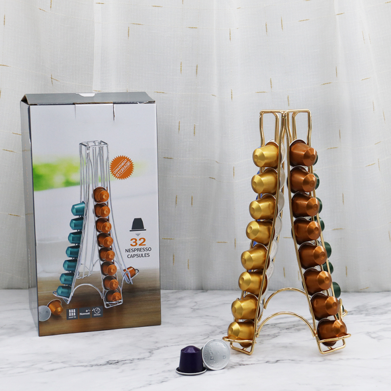 New Design Creative Eiffel Tower Shape 4 Sides Iron Nespresso Coffee Capsule Holder for 32 Cups