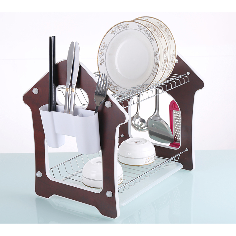 2 Tier Wire Metal Wooden Pull out Kitchen Storage with Drainboard and Cutlery Cup Chrome Dish Drainer Rack with Tray