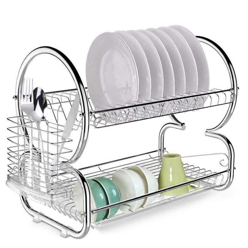 High Quality Home Kitchen Counter Top Metal Wire Drying Plate Rack For Hanging Dishes