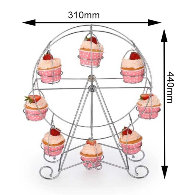 Ferris Wheel Type Powder Coated Decorative Round Shaped Metal Hanging Cake Stand