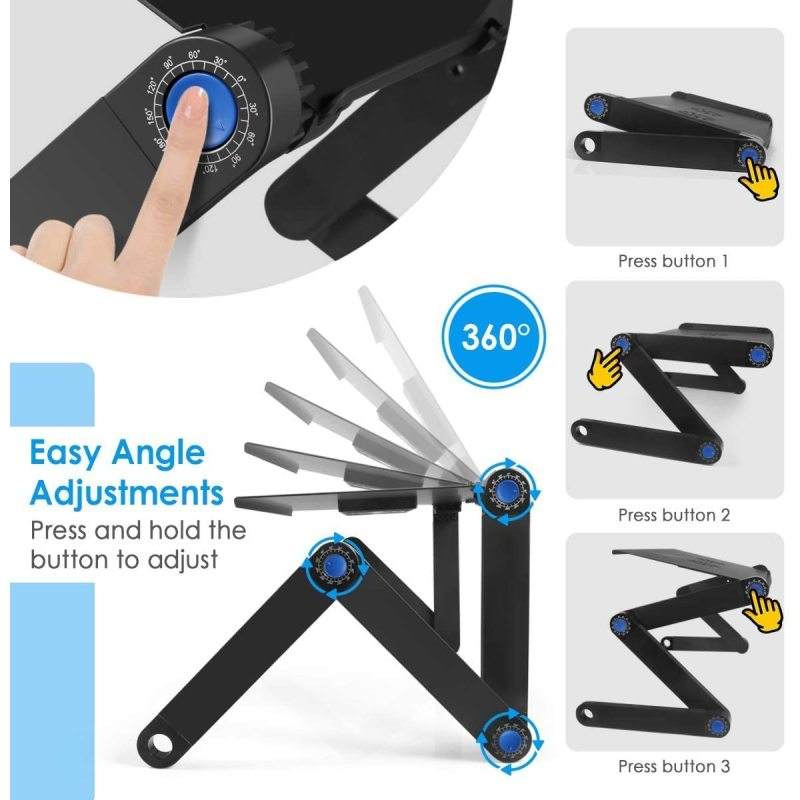 Amazon Hot Selling Convenient Height Adjustable Aluminum Foldable Laptop Stand with Cooling Fans