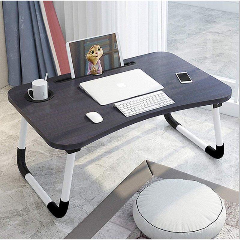 Modern Small Dormitory Table Breakfast Serving Black Adjustable Portable Foldable Laptop Computer Desk for Use Bedroom