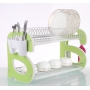 Professional kitchen 2 tiers Chrome Dish Rack Dish Drain Rack with plastic drip tray