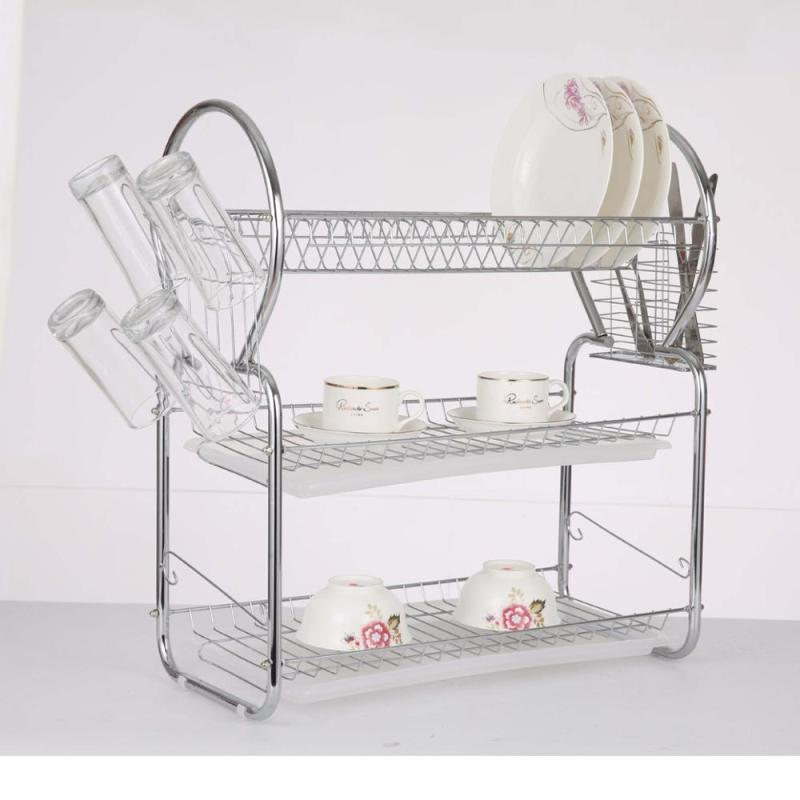 Wideny Three Tiers Kitchen Metal Wire Folding Dish Drying Rack with Metal Basket