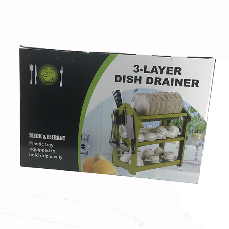 Kitchen Useful Plastic Storage Organizer Plate Collapsible Folding Rolling Dish Drainer Rack Cabinet
