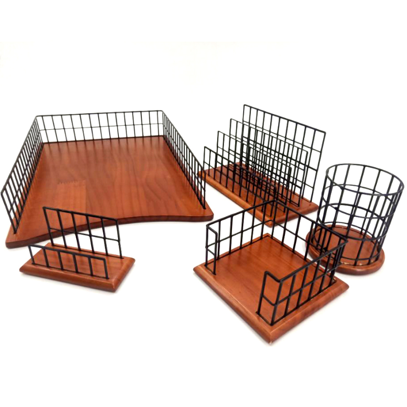 Office Supplies Wooden Base Desktop Accessories 4 Piece Metal Wire Desk Organizer Set