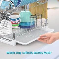 Multipurpose Modern Design 2 Tier Kitchen Storage Dish Drying Rack with Cutlery Holder