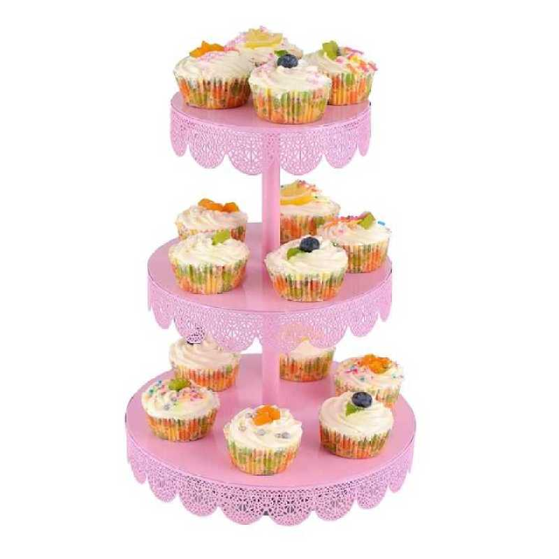 3 Tier Metal Wire Fancy Rotating Wedding Cake Holder Cupcake Stand