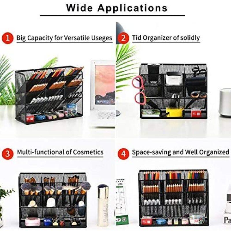 Home Office Art Supplies Mesh Black Multi-Functional Pen Desk Organizer for Stationary Holder Storage Rack School