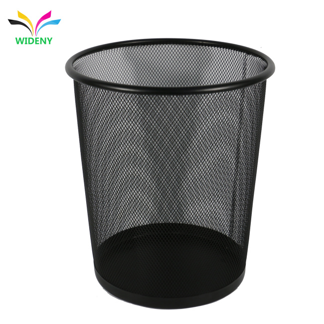 Diameter 268*220*280 Black recycle bin  trash basket mesh Round Wastebasket