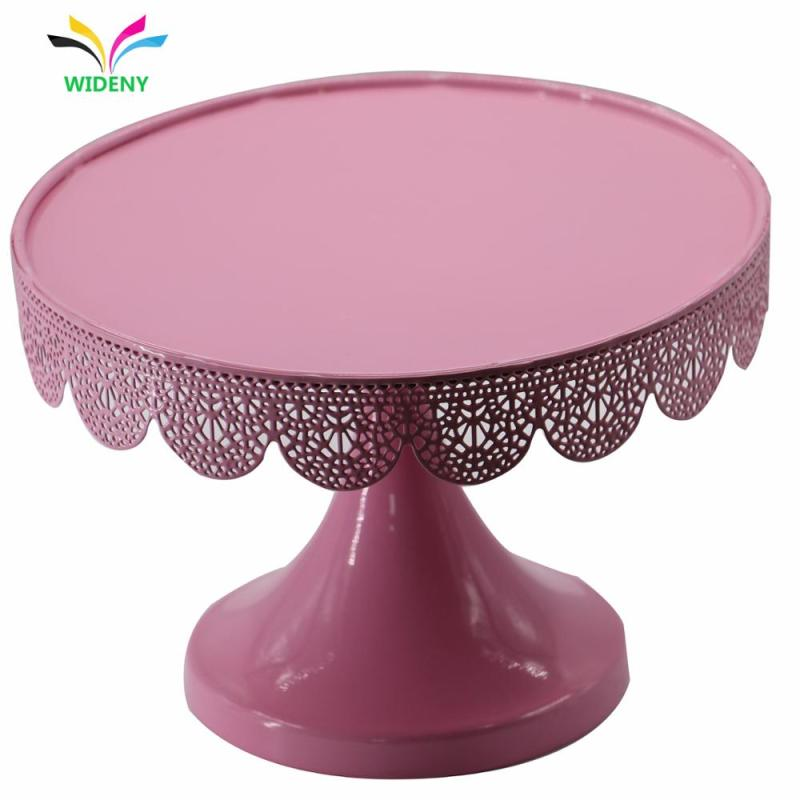 Revolving round wedding Party pink iron plate metal cup cake stand for wedding crystals cake