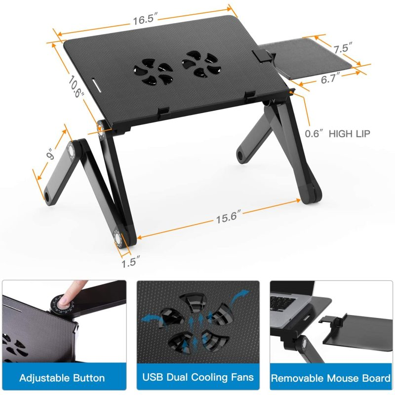 Home and office Ergonomic Portable Laptop stand, Aluminum Laptop Table Desk with USB Cooling Fan and Mouse