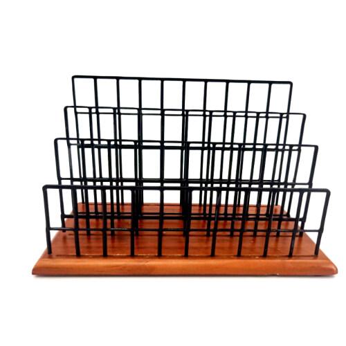 Wideny Stationery Black Desktop Metal Wire Mesh Wood Based  Letter Holder and File Organizer for Desk