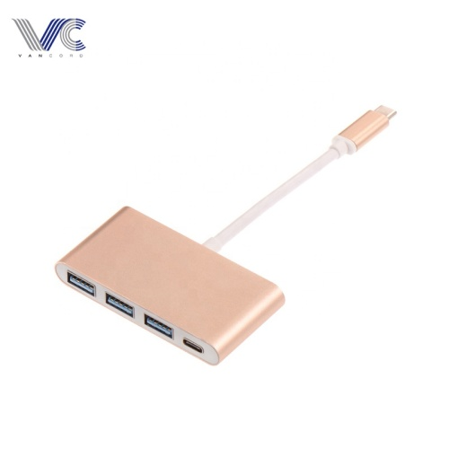 Type-C 3.1 Male to various 4 Female Port 3*USB3.0+Type-C HUB with Rose-gold Aluminum Shell