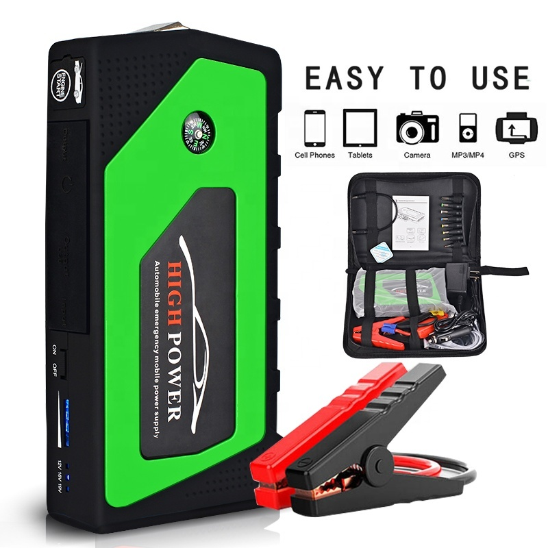 Green Water Resistant Mini Car Power Bank Jump Starter with Cable Clamps