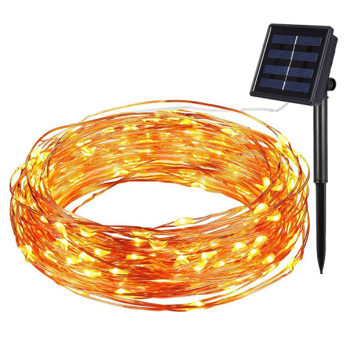Solar Energy Copper Wire String LED Lights,Outdoor Waterproof 2M/5M/10M lampAlways bright + flashing 5M 50pcs lights