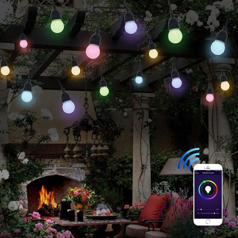 7.6m Party Bulb Belt Light Clover Low Voltage Waterproof Festoon String Patio Bistro Garden