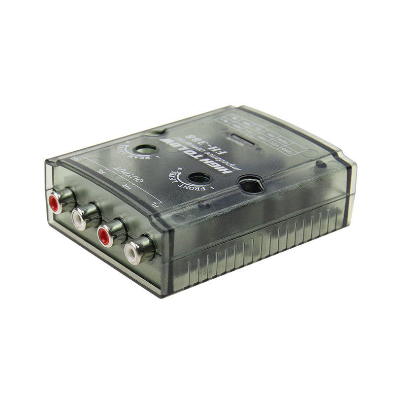 Auto Car RCA High to Low 4-Channel Line Output Converter for Adjustable Subwoofer Level Car Amplifier