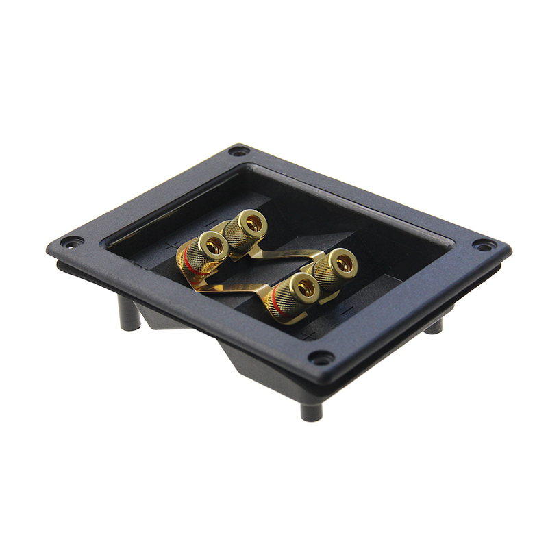 4 ways Gold Plated square speaker box binding post terminal,Speaker box cup,Bi-Amp Speaker Wire Terminal Cup
