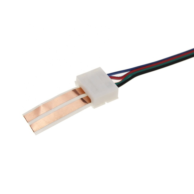 HX-FKN12 12mm Width 4 Pin Solderless LED Strip Corner Connector Flat Cable Connector Terminal With Wires