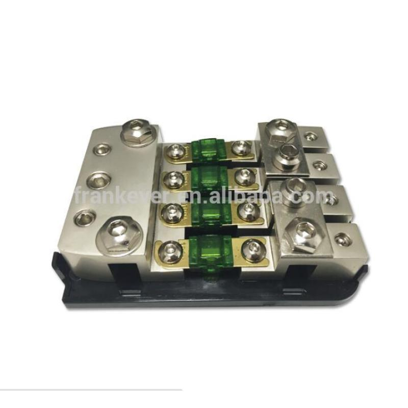 Frosted Nickel Plated 4 ways ANL+AFS Car Fuse Box car fuse holder
