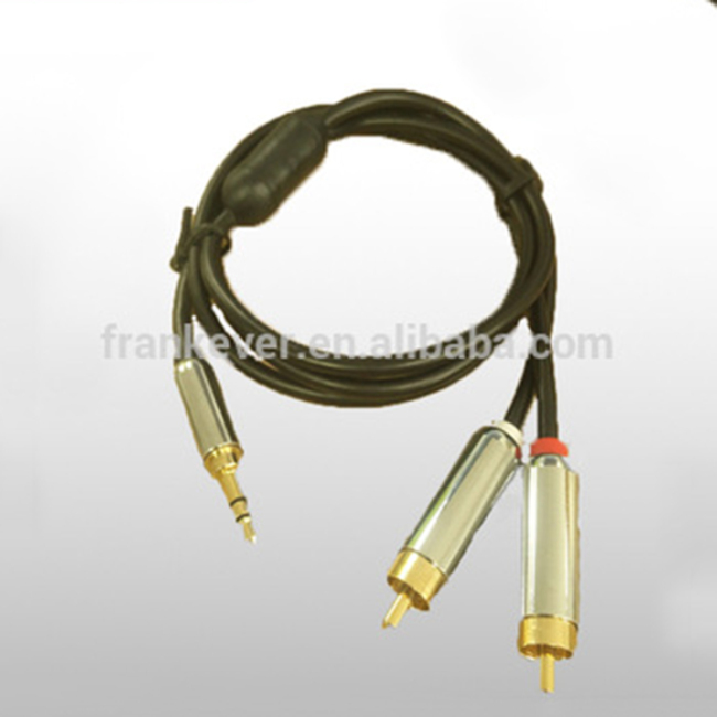 High Quality Metal Premium 3.5mm to 2*RCA Plug cable