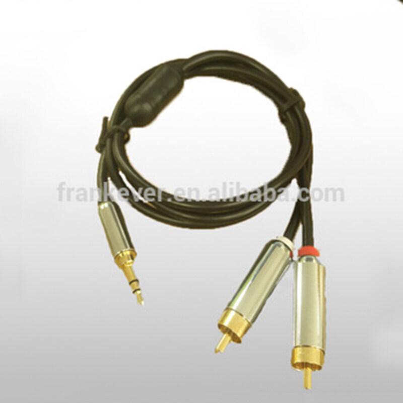 High Quality Metal Premium 3.5mm to 2*RCA Plug cable