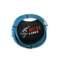 Guitar Instrument Cable - Right Angle 14 Inch TS to Straight 14 Inch TS 20 FT blue Tweed Cloth Jacket - 20 Feet Pro Cord