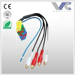 Wire harness iso radio plug with 4 female RCA plug auto wiring harness Made in China