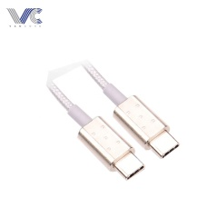USB Type-C2.0 to Type-C2.0 Male type C Cable with Zinc Alloy Shell, White Nylon Woven Jacket