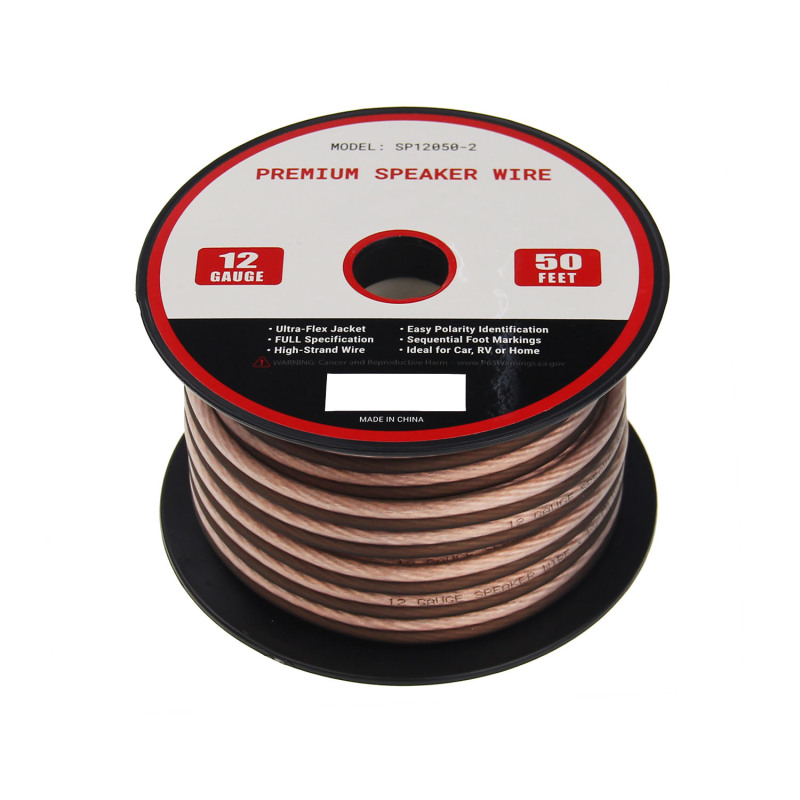 Frosted Flexible Transparent Red 12AWG Speaker Cable 50ft