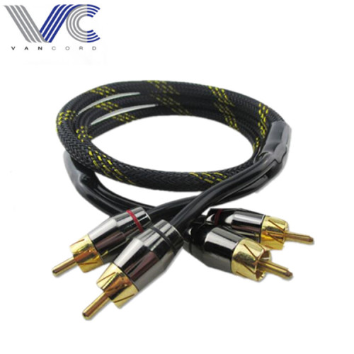 0.6m 2 RCA To 2 RCA Gold Plated Braided RCA Audio Cable
