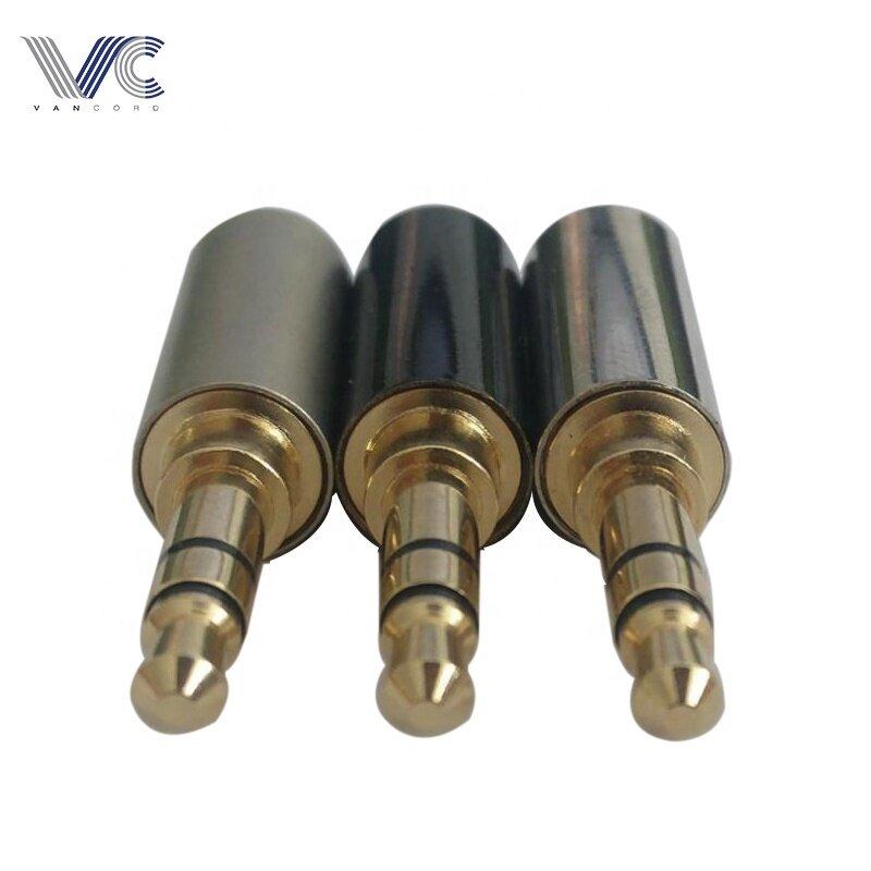 Audio Video Plugs 3.5mm Triple-Plug with Full Metal Jacket Black/Grey/Bright Nickel