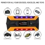 Safe 4USB LED Yellow Car Emergency Battery Charger for traveling carrying