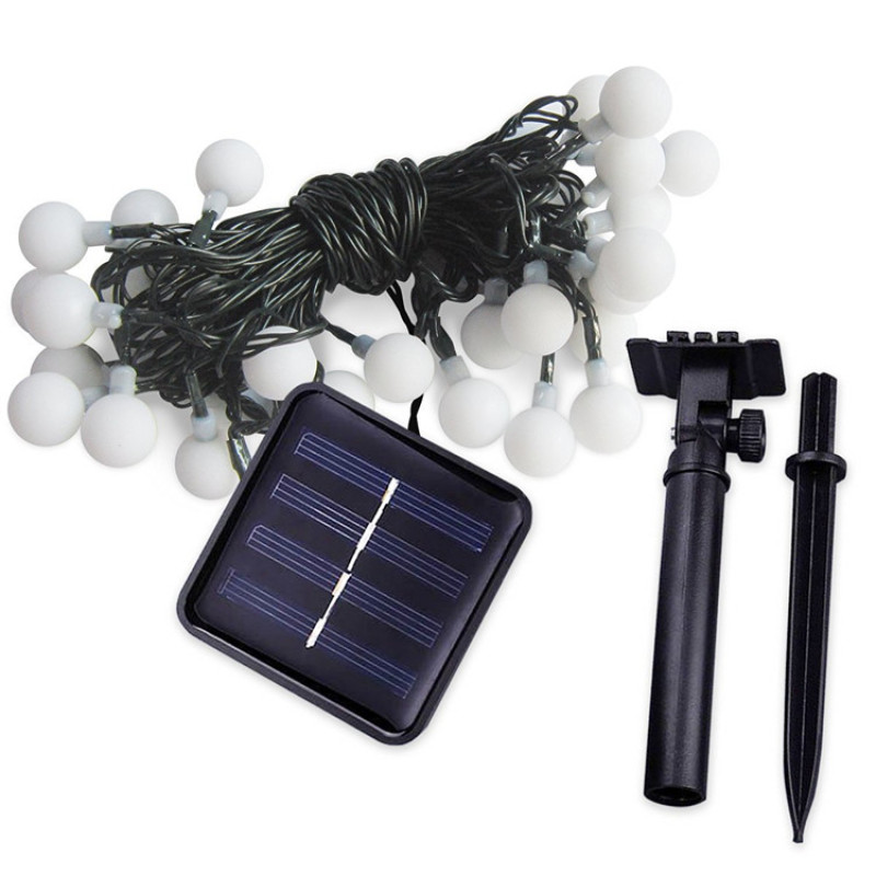 Solar Powered LED String Lights for Patio Garden Porch Backyard Party,5M 50 Lights+ Crystal Ball+Warm Light