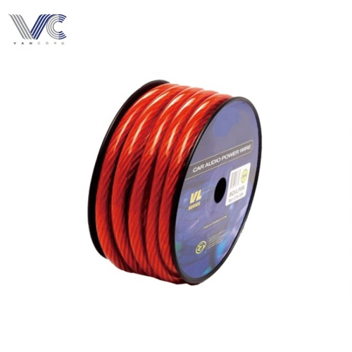 transparent red cca power cable for car