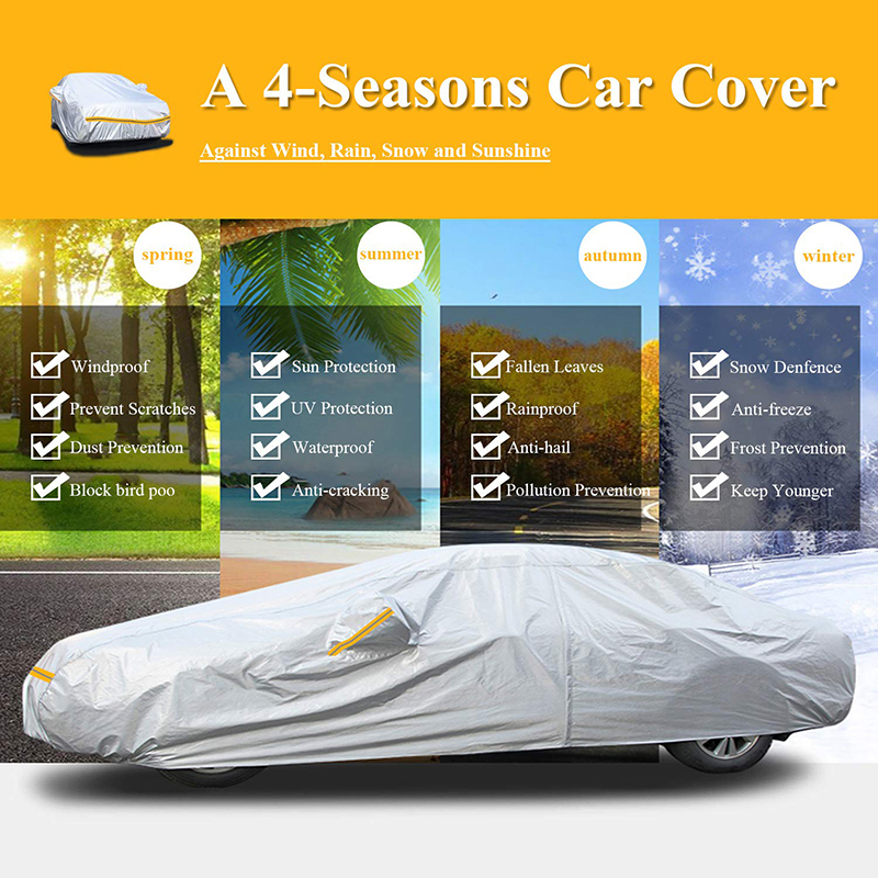 Waterproof Sun Protection Auti-UV Rain Snow 190T Polyester Body Cover Car+Covers