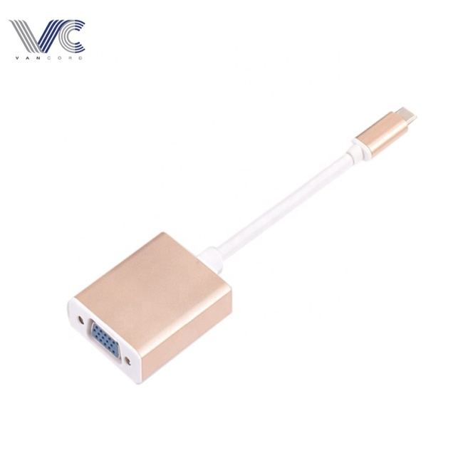 Type-C 3.1 Male to VGA Female HUB with Rose-gold Aluminum Shell Gold-plated Connectors