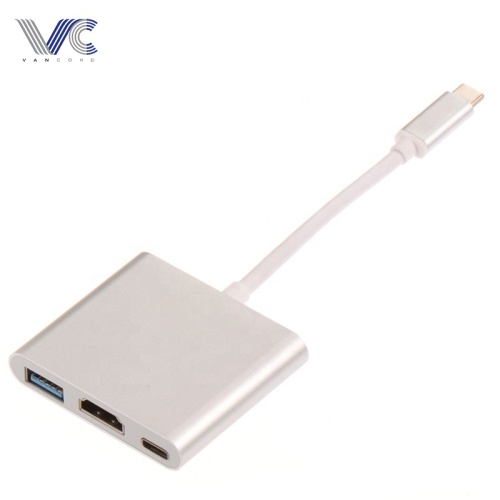 Type-C 3.1 Male to various Female HDMI+USB3.0+Type-C HUB with Aluminum Sliver Shell