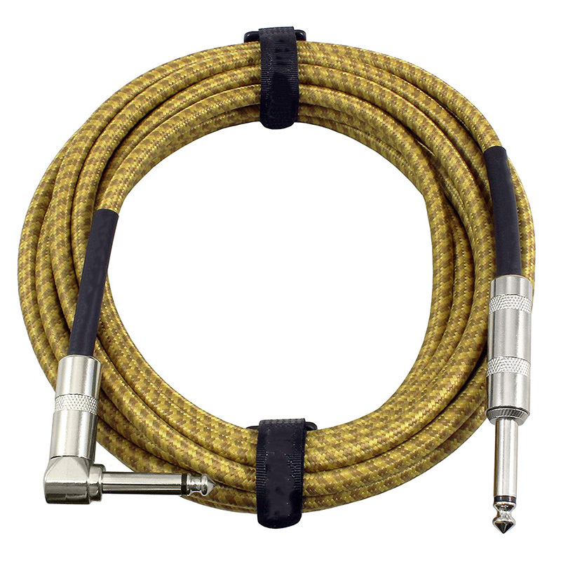 Guitar Instrument Cable - Right Angle 14 Inch TS to Straight 14 Inch TS 20 FT Brown Yellow Tweed Cloth Jacket - 20 Feet Pro Cord